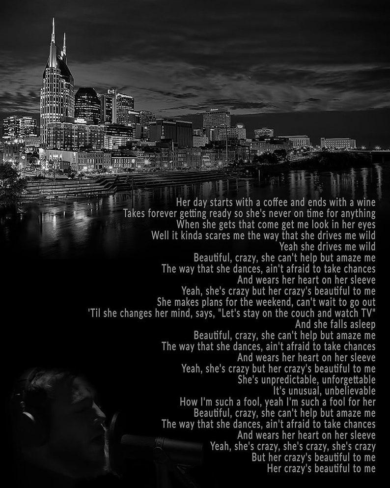 Beautiful Crazy Luke Combs Inspired Lyric Art Print Digital Etsy