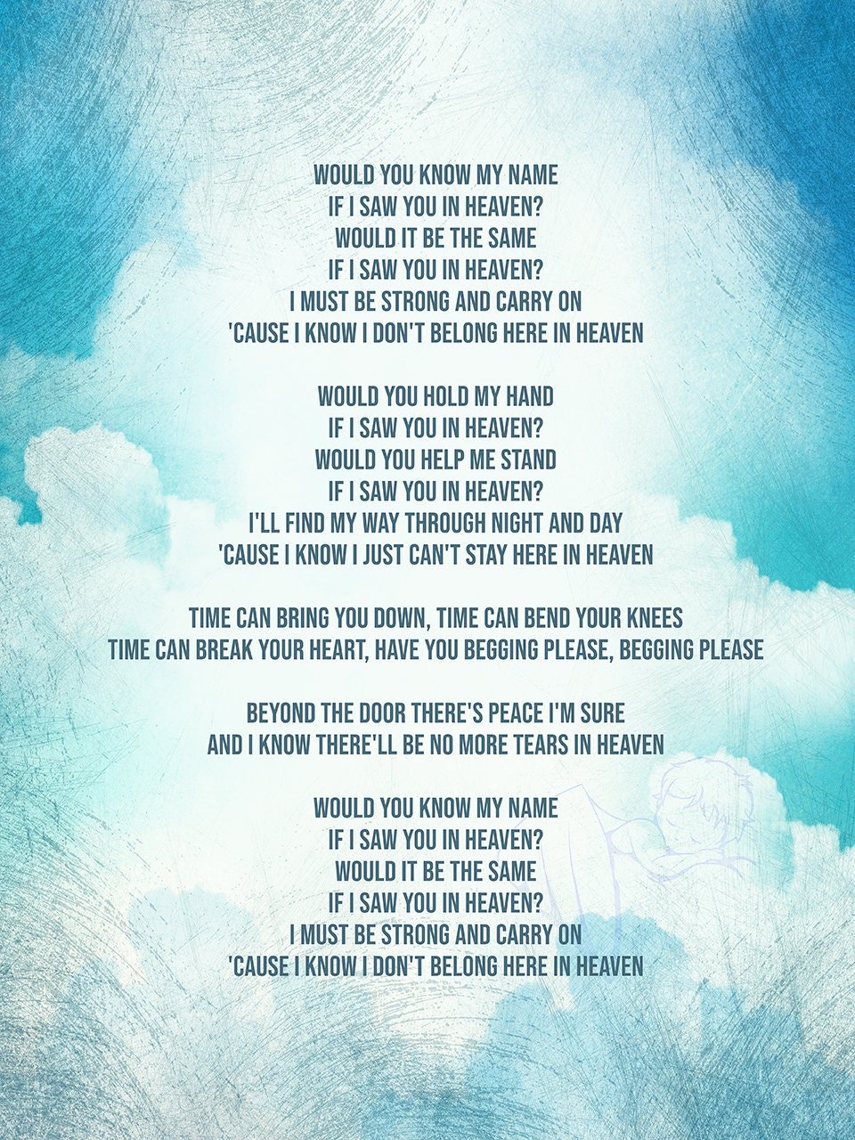 Tears in Heaven | Eric Clapton Inspired Song Lyric Art Print *PHYSICAL  PRINT*