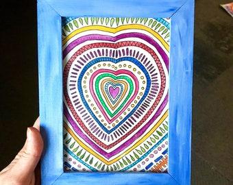Heart in Blue Frame