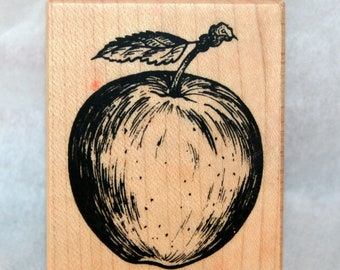 Apple Wood Mounted Rubber Stamp PSX F-1649 Teacher Fruit Autumn Fall Card Making