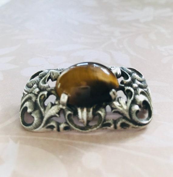Art Deco  brown Tiger eye brooch  - image 3