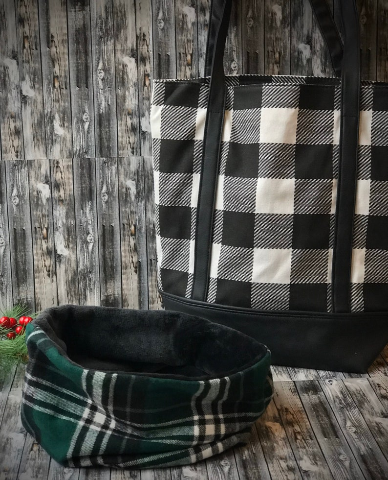 Handmade reversible faux black fur with green  white black plaid neck warmer Personalized gift set Tote bag with monogram initial