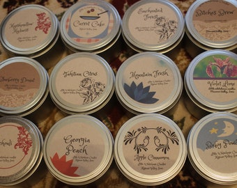 Premium soy blend fragranced candles, 8 oz tin, various scents