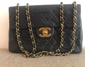 Vintage Chanel Maxi Lambskin Quilted Flap Bag with Gold Hardware (1990-94)