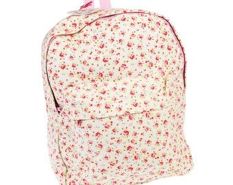 Personalised Large Floral Backpack for children, School Bag, Nursery, Kids,  Rucksack, Rucsac, Wipeclean, named, child d1fae53672