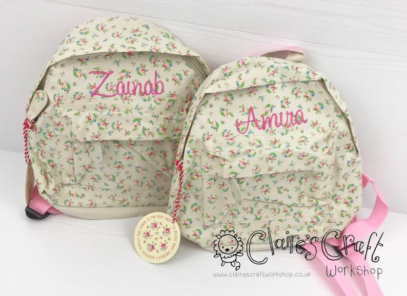 Personalised Floral Mini Backpack for children, School Bag, Nursery, Kids,  Rucksack, Rucsac, Wipeclean, named, child