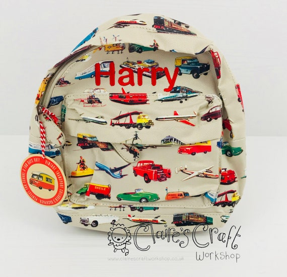 Childrens School Bag Personalised Transport Cars Boys Kids Backpack