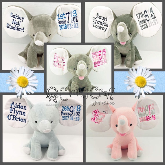 Teddy New baby Cubbies Personalised Embroidered Grey Dumble Elephant