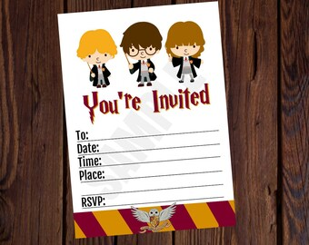 Harry Potter Inspired Printable Birthday Invitation 5x7 Blank Fill It Out Yourself Instant Download No Waiting Free 4x6 Thank You Card