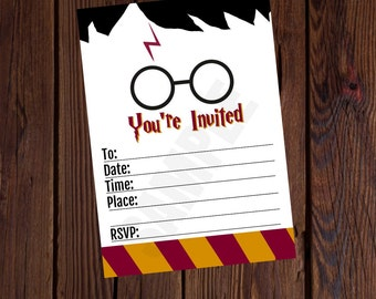 Harry Potter Inspired Printable Birthday Invitation Blank 5x7 Fill It Out Yourself Instant Download No Waiting Free 4x6 Thank You Card