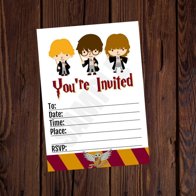 Harry Potter Inspired Printable Birthday Invitation 5x7 Blank