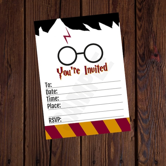 Harry Potter Inspired Printable Birthday Invitation Blank 5x7