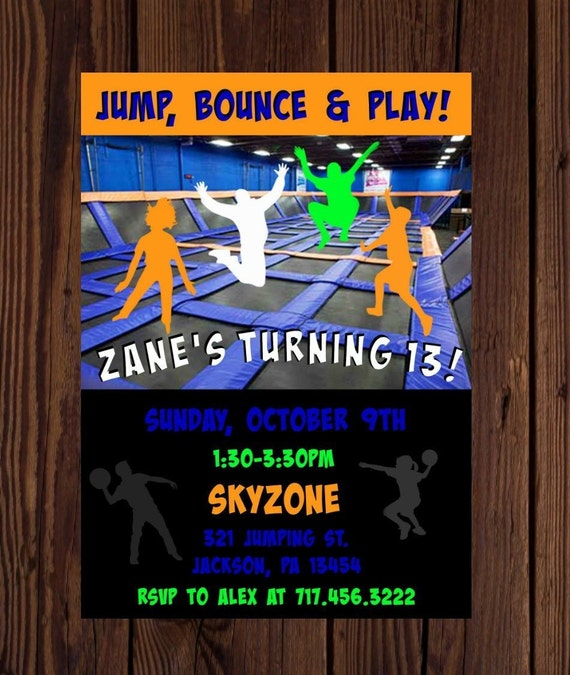 photograph relating to Etsy Printable Invitations referred to as Sky Zone printable invitation, Trampoline park birthday bash, Bounce and Jump invite, electronic history, Carried out within just fewer than 24hours
