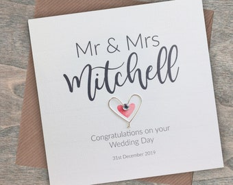 Cards & Invitations Gorgeous Wedding Day Card Handmade/ Wedding Keepsakes/Mr & Mrs/ Personalised