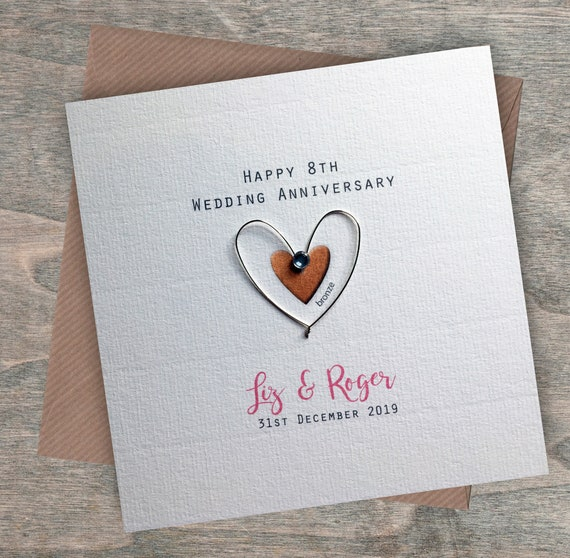 Personalised Handmade Dove 8th Wedding Anniversary Card Bronze For Them