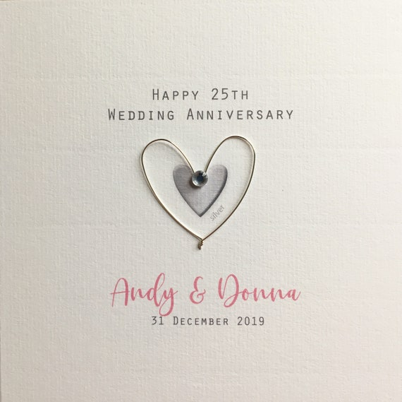Handmade Personalised Silver Heart Wedding Anniversary Card Husband//Wife//Fiance