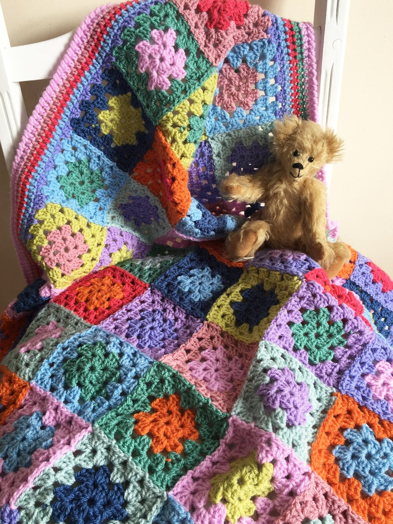 Baby Blanket Afghan Squares Cradle Car Seat Stroller Size Blankets & Throws Nursery Bedding