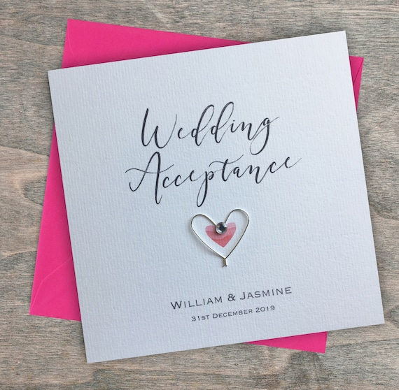Personalised Handmade Wedding Acceptance Card