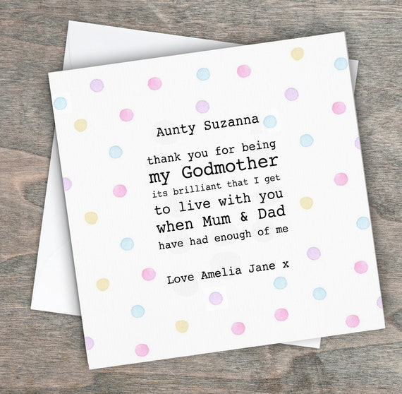 Cute Pink Baby Girl Thank You For Being My Godmother Personalised Sibling Card
