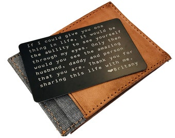 Wallet Insert Card, Metal Wallet Card, Custom Wallet Card Personalized Quote Gift for Him, Boyfriend Gift