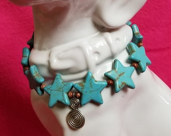 Teal Star Glass Bead Necklace for Small Dogs