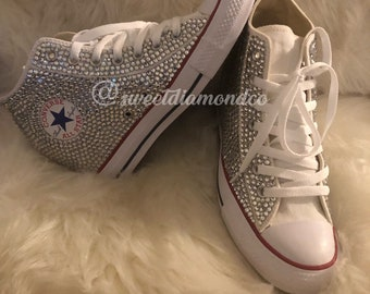 75f122e9d19d Bling Wedding Rhinestone Converse Wedges