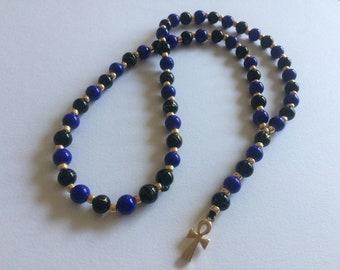 Blue Kemetic Rosary Prayer Beads