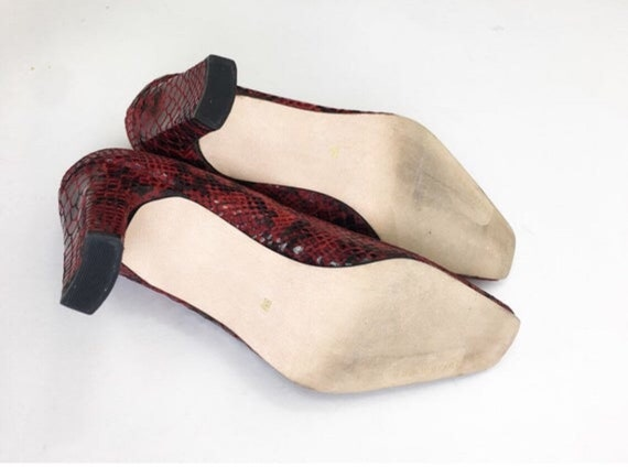 Vintage 90s Ann Marino Red Snakeskin Leather Heel… - image 9