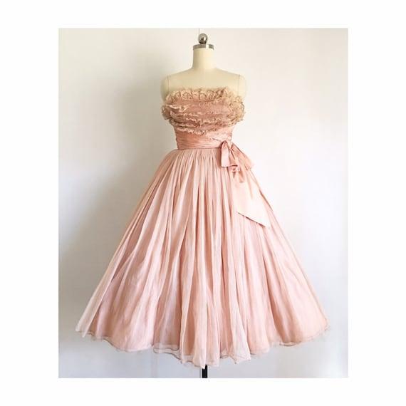 Vintage 1950s Blush Pink Cotillion Dress | 50s Ful