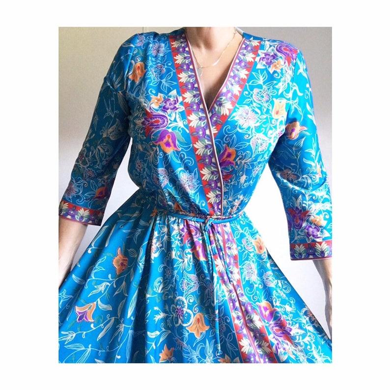 Vintage 70s Gorgeous Colorful Bohemian Day Dress W Matching Belt Montgomery Ward