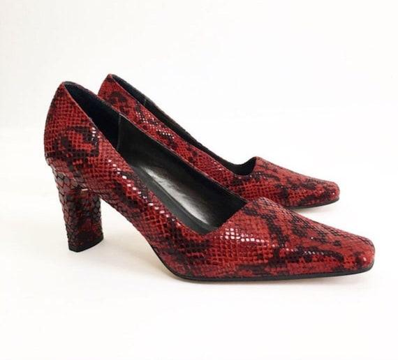 Vintage 90s Ann Marino Red Snakeskin Leather Heel… - image 3