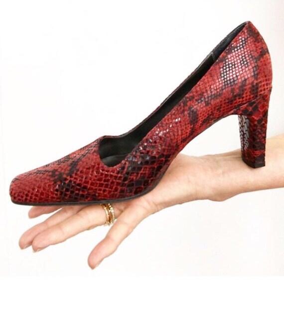 Vintage 90s Ann Marino Red Snakeskin Leather Heel… - image 2