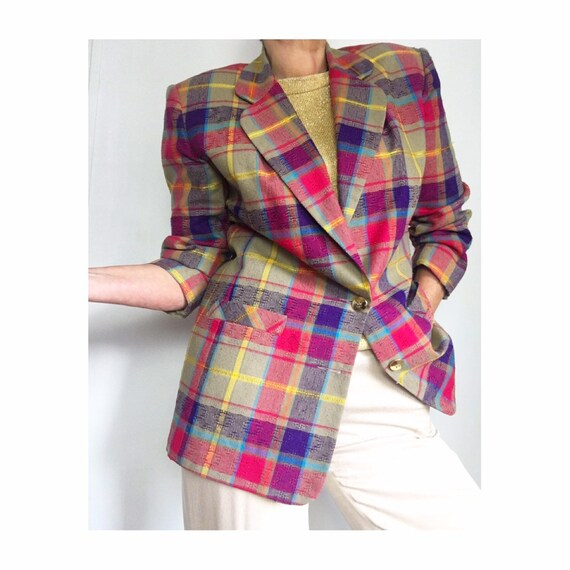 Vintage Plaid Blazer | Checked Blazer Jacket | Psy