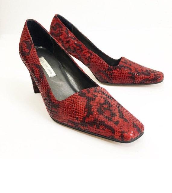 Vintage 90s Ann Marino Red Snakeskin Leather Heel… - image 6