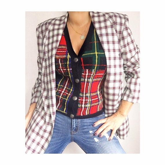 Vintage Checked Plaid Blazer | Checked Jacket | Pl