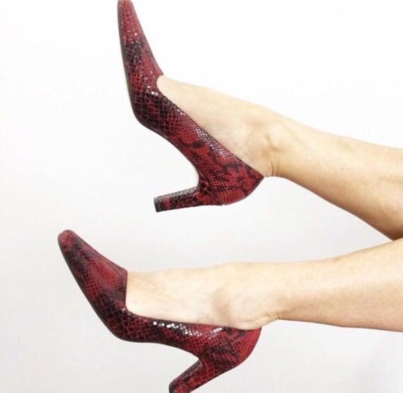 Vintage 90s Ann Marino Red Snakeskin Leather Heel… - image 7