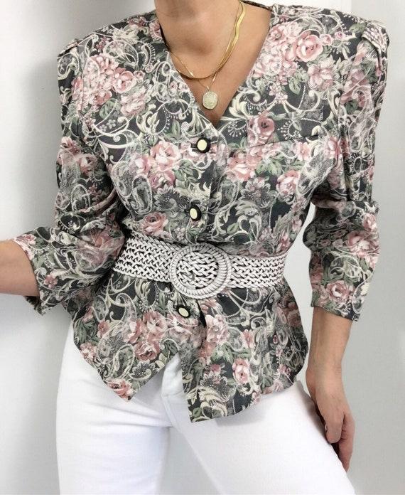 Vintage Tapestry Rose Print Blazer Blouse Top Past