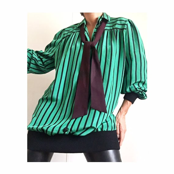 Amazing Vintage 80s Apple Green Black Striped Over