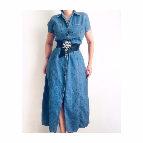 Vintage Denim Jeans Midi Dress | Denim Dress | Liz
