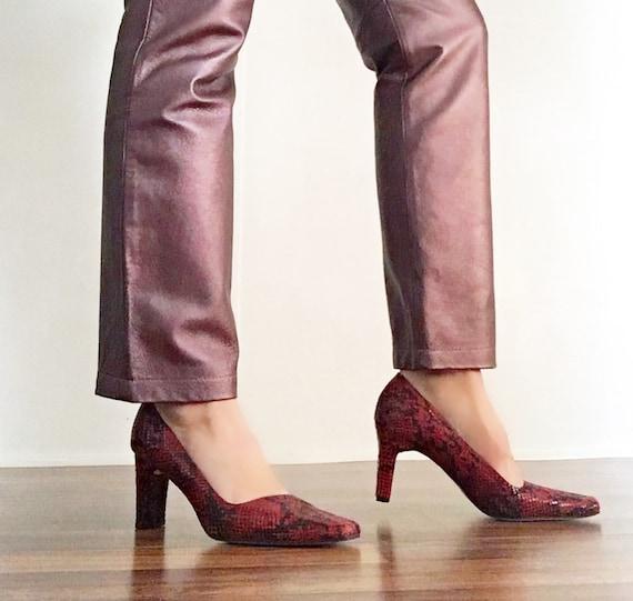 Vintage 90s Ann Marino Red Snakeskin Leather Heel… - image 8
