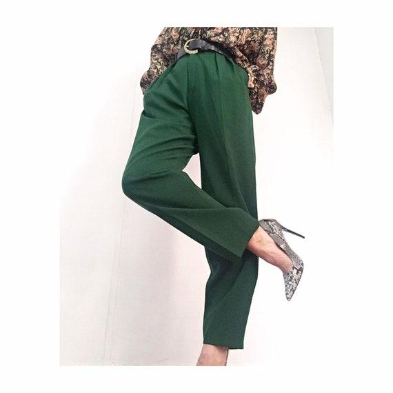 Vintage Dark Green Highwaisted Wool Pants | 80s Hi