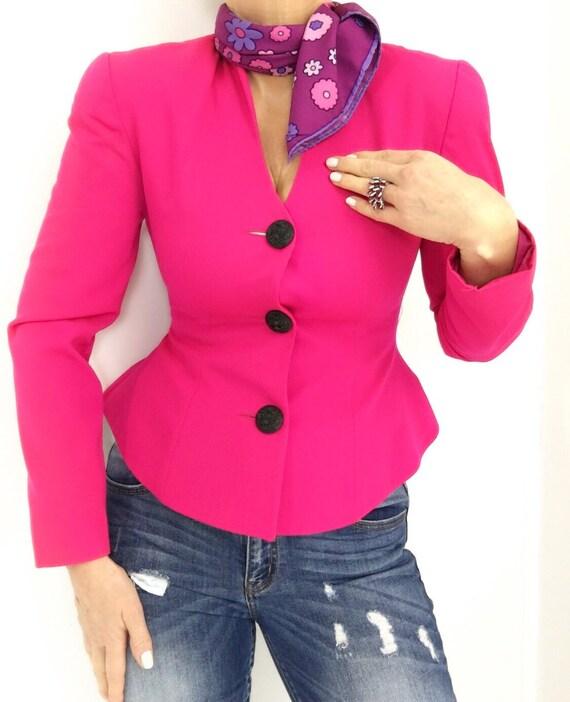 Vintage 90s Hot Pink Peplum Short Blazer