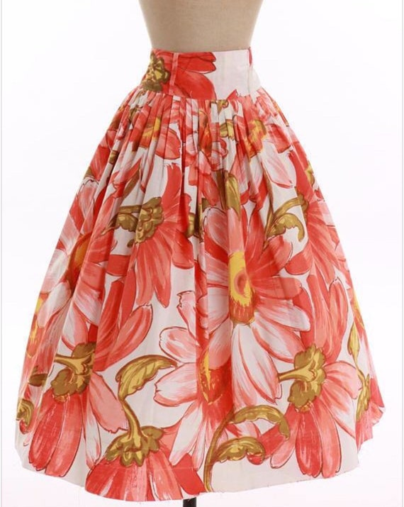 Vintage 1950's Novelty Print Cotton Skirt  W/Overs