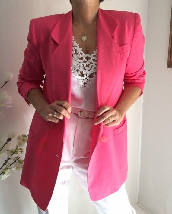 Vintage Linen Blend Hot Pink Oversized Long Blazer