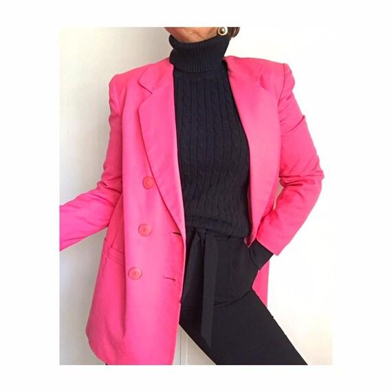 Vintage 90s Linen Blend Hot Pink Oversized Long Bl