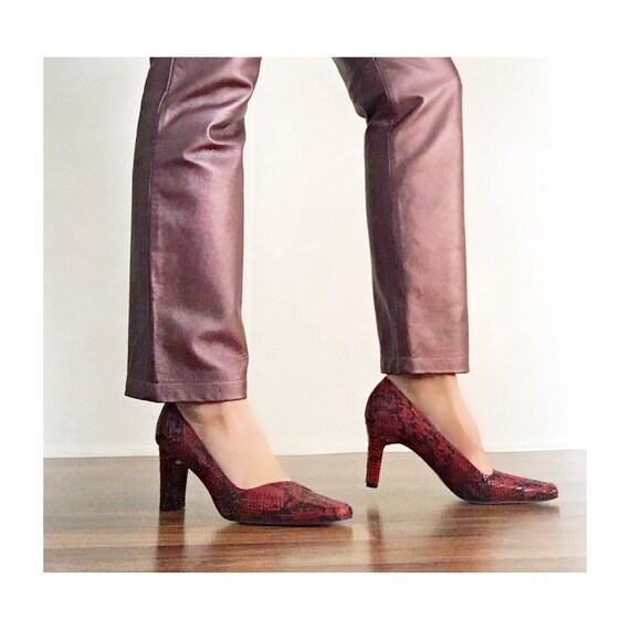 Vintage 90s Ann Marino Red Snakeskin Leather Heel… - image 1
