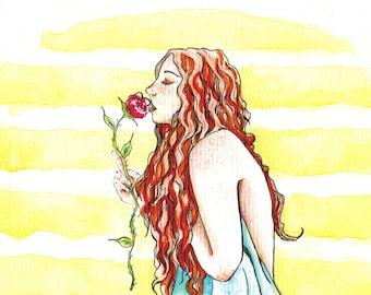 "Original watercolor ""Sunrise and Roses"" 21x28 cm"