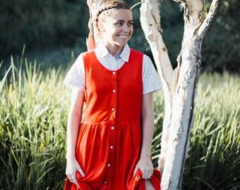 Red Velvet Apron Dress