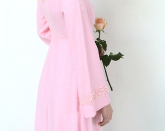 1960s Pink Silk Wedding Gown