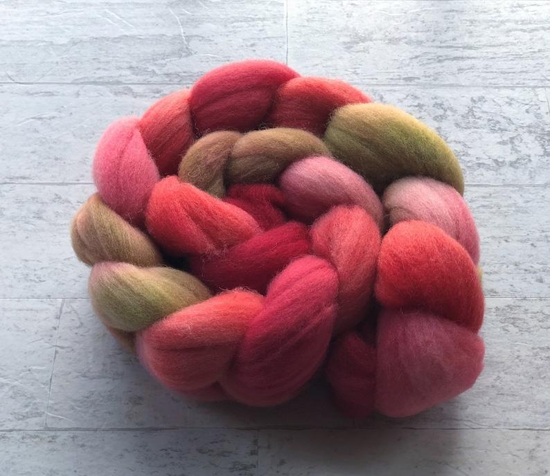 Dragon Fruit Needle Felting Wet felting Spinning Fiber Romney Wool Hand Dyed Wool  Roving